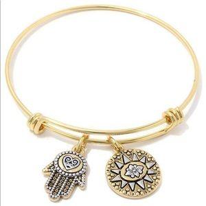 Jewelry - Hamsa Hand Sun Charm Metal Bangle Bracelet